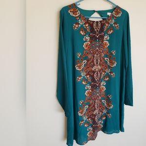 Xhileration Teal Brown Boho Shift Dress Size Large